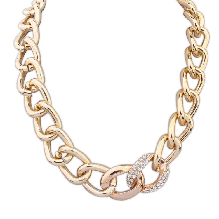 Statement Choker Necklace Fashion For women 2015 Collar Rhinestone Bib Chunky Gold Chain Necklaces & Pendants Vintage Jewelry(China (Mainland))