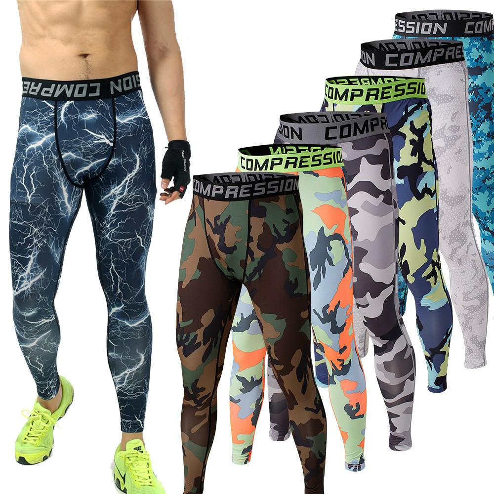 Гаджет  Mens Running Camo Base Layer Fitness Jogging Compression Tights Long Pants Sport Basketball Training Leggings Mens Gym Wear None Одежда и аксессуары