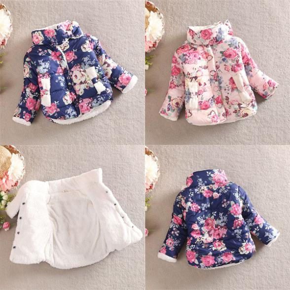 Hot Fashion Baby Winter Girls Cotton Floral Coat Long Sleeve Jacket Thick Warm Outerwear