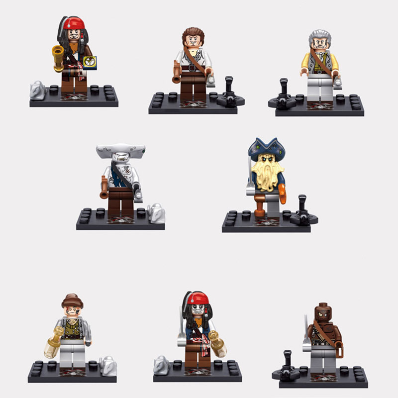 8pcs/lot Pirates of the Caribbean Captain Jack Sparrow Davy Jones Kid Building Blocks Legoes Model Toys Minifigures Brick(China (Mainland))