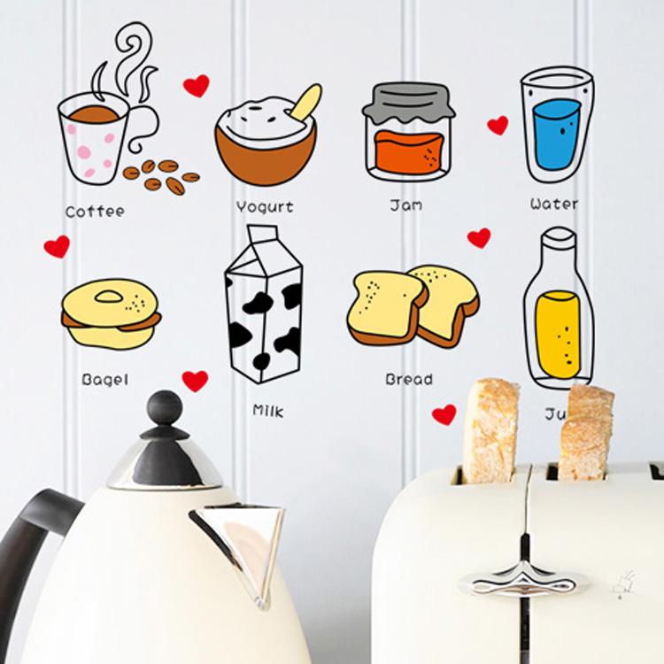 Removable wall stickers cute cartoon breakfast dessert restaurant kitchen cabinets refrigerator green waterproof stickers(China (Mainland))