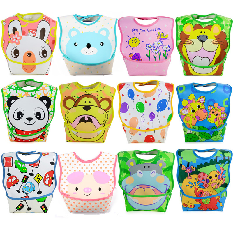 High Quality Waterproof Baby Bibs PVC Infant Bibs Waterproof Baby Pinny for 9~36 Month Baby 2pcs WZ18a(China (Mainland))
