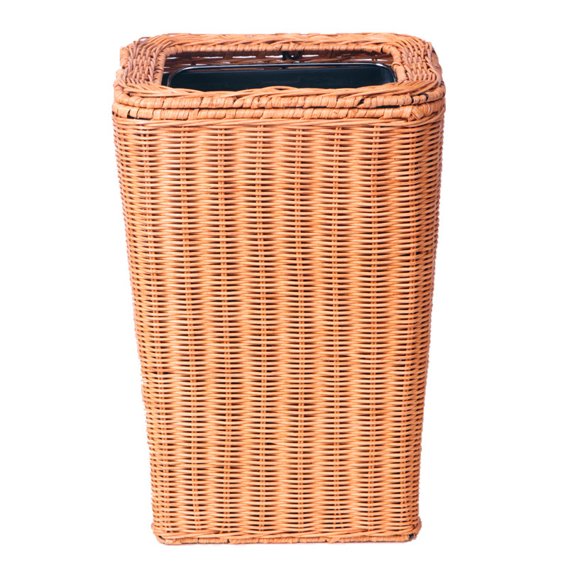 Rattan bamboo household kitchen living room hotel without cover mini upscale small wastebasket - Covered wastebasket ...