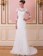 Buy Don's Bridal 2016 High Neck Court Train Lace Applique Wedding Dresses Cheap Sheath Bride Gowns Vestido De Novia for $142.35 in AliExpress store