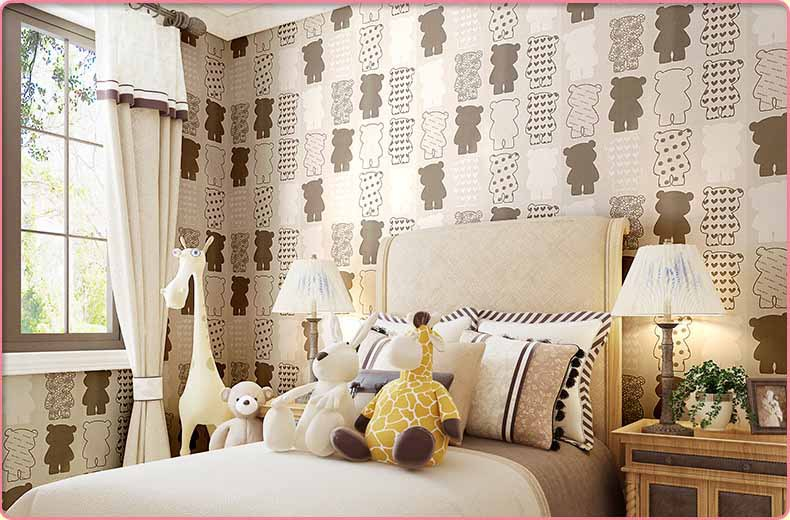 papel de parede,Modern Simple Cartoon Little Bear Wallpaper,Non Woven wall paper for living room bedroom papel de parede sala