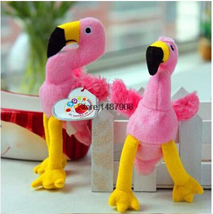 Hot Selling 2pcs/lot 13CM TY Beanie Babies pink flamingo bird plush Stuffed Toy Doll Children Gifts Big eyes Free Shipping(China (Mainland))