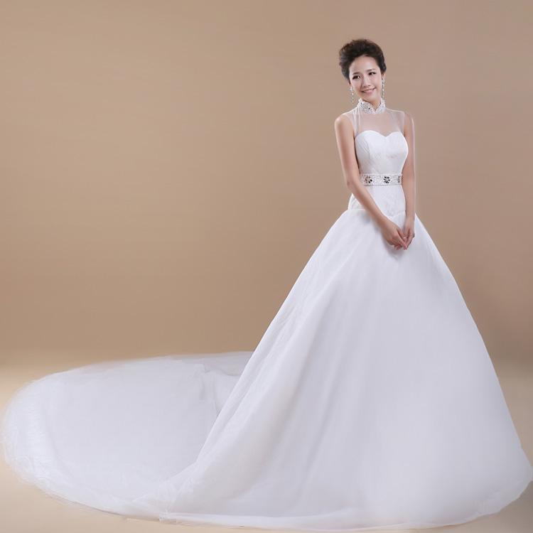 2016 white wedding dresses bride gowns slit neck lace for White wedding dresses with long trains