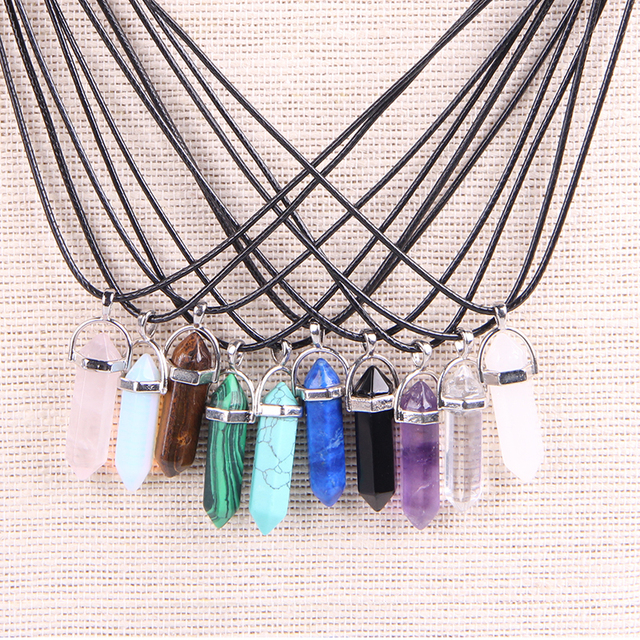 Vintage Bullet Quartz Crystal Necklace Pendant For Women