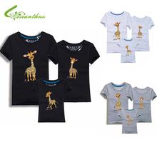 Семья взгляд животные жираф футболки лето семья соответствующие одежды отца мать дети наряды хлопок тройники бесплатная прямая поставка(China (Mainland))