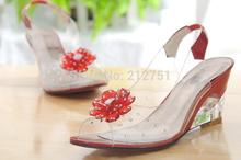 2015 Fashion Transparent Crystal Woman's Shoes Flower Wedges Sandals Open Toe 34-43 Plus Size Big Size Discount(China (Mainland))