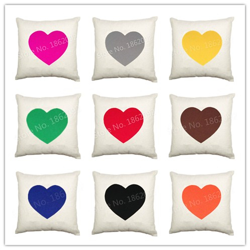 """Love Hearts Cushion Cover Velvet Decorative Throw Pillow Case Colorful Heart Sofa Decor 18"""" Soft Pink Orange Blue Red Cases(China (Mainland))"""
