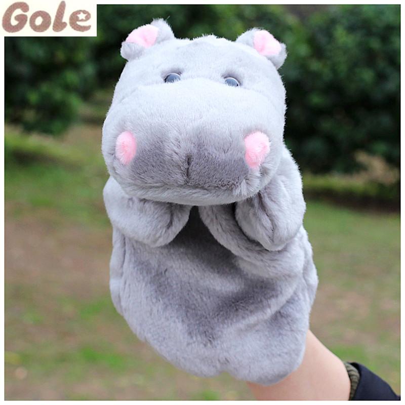 Hippopotamus Glove Puppets Animal Finger Puppet Fantoche De Dedo Dolls Babies Cloth Baby Educational Toys Plush Zoo Animals(China (Mainland))