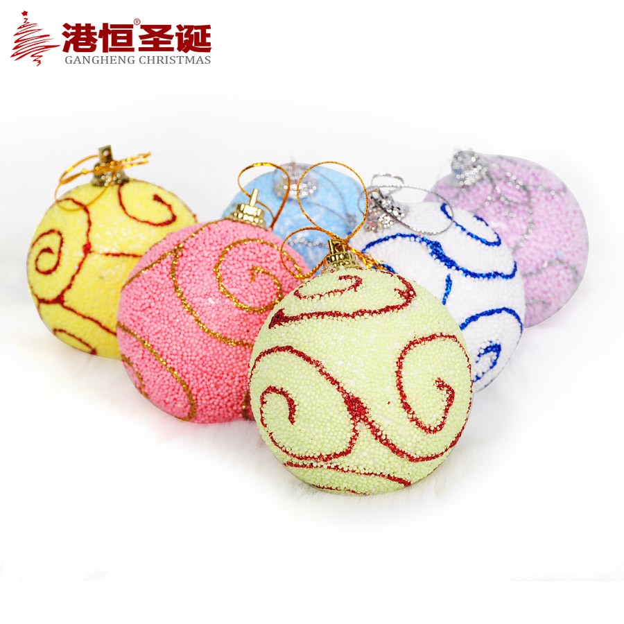 Christmas tree ornaments 5-6 cm foam hand draw six color Christmas balls (6), 20 g styrofoam balls ornament crafts(China (Mainland))
