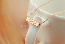 Wishing Pillar Chain Necklace For Women Jewelry Wisdom Luck Courage Belief Letter Pendant Bijoux 316L Stainless steel Necklace(China (Mainland))