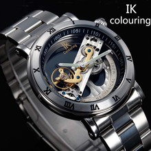 New Design Watches steel Brand Ik Colouring Hollow Automatic Mechanical Watch Men Skeleton Swimming Watches 50M Waterproof(China (Mainland))