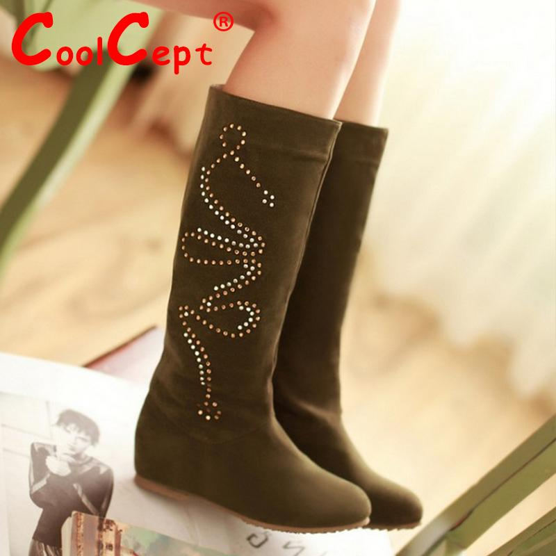 CooLcept Free shipping over knee long boots women snow fashion winter warm boot footwear wedge shoes P10312 EUR size 32-44<br><br>Aliexpress