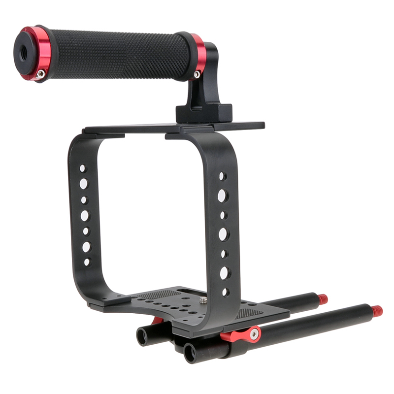 New Wholesale BMCC Stabilizer DSLR Camera Cage Rig with Top Handle + Baseplate and 15mm Rod for Blackmagic Cinema Camera<br><br>Aliexpress