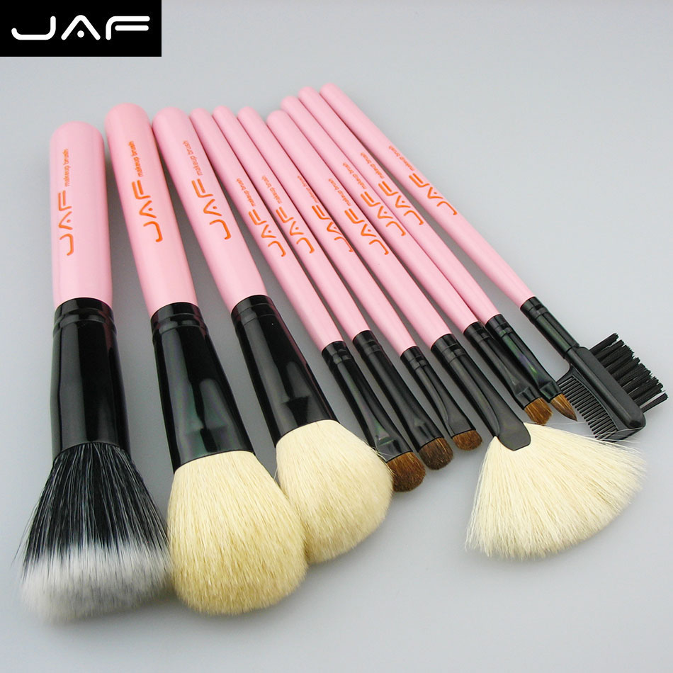 jaf brush 10pcs pink Makeup Brush Set kits makeup brush natural animal hair Cosmetic tool make up brushes Professional(China (Mainland))