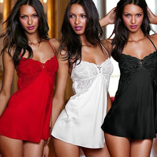 Mulheres Alta Qualidade Sexy Lingerie Lace Vestido Pijamas Nightgowns Hot