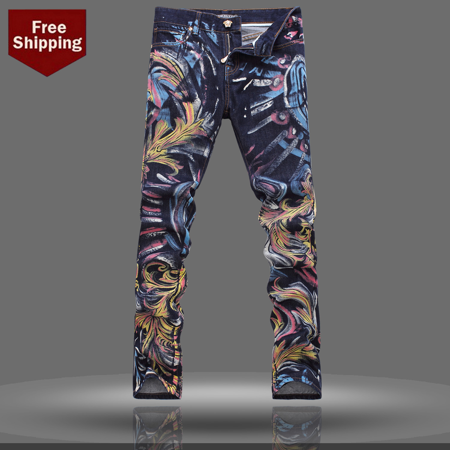 Print jeans male 2014 menu0026#39;s autumn and winter clothing doodle colored drawing jeans trousers ...