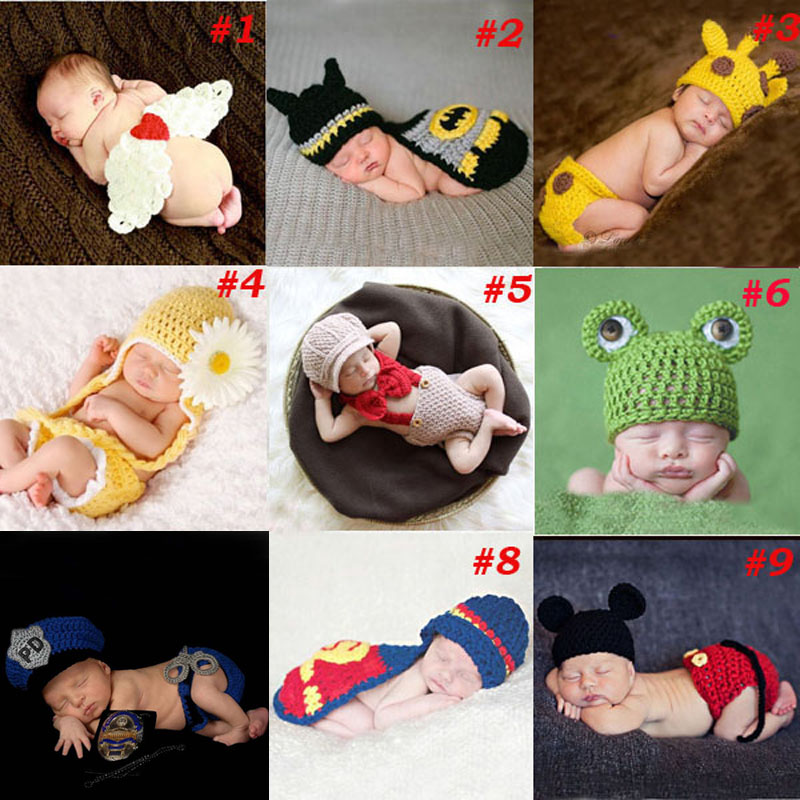 Baby Newborn Photography Props Costume Hand Crochet Knit Infant Beanie Hat with Cape Animal Design Wing Batman Policeman SG040(China (Mainland))