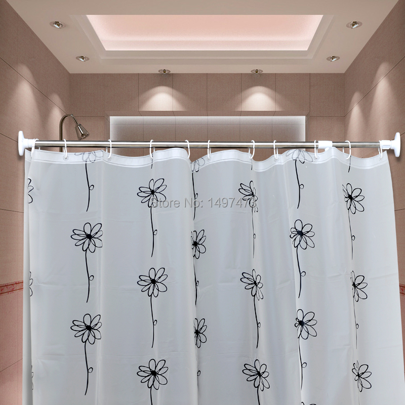 Retractable Shower Curtain Rod Rods Brief Bathroom Jackstay Hole Digging Curtain Rod