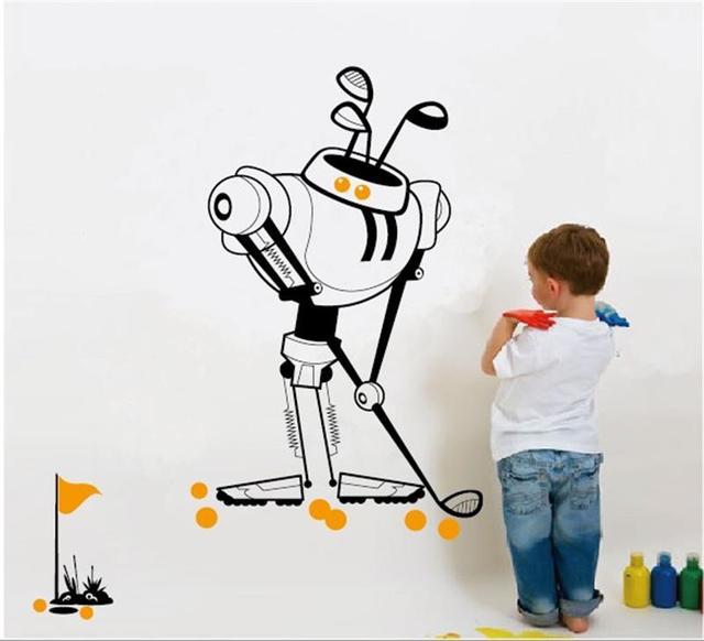 104 * 77 см , играя в серии робота наклейки детская комната декор мальчик помещений украшения