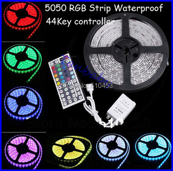 Ip65 waterproof led strip light 5050 smd 300led 5M RGB led rope +44key IR remote controller  free shipping