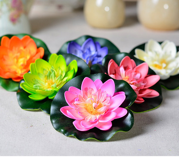 10pcs artificial flower silk plastic flowers fake bouquet Water lily lotus decoration boda mariage supplies(China (Mainland))
