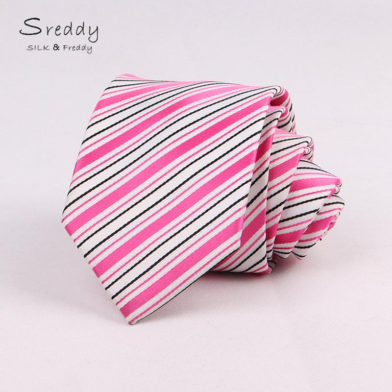 Sreddy Polyester tie neckties gravatas slim luxury cravate pink striped lines men ties designers fashion corbatas estrechas 2016(China (Mainland))