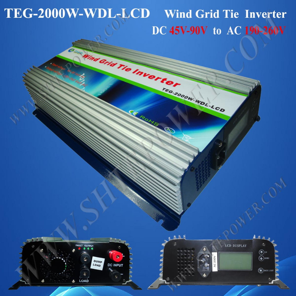 Wind Turbine On Grid With Dump Load And Meter-LCD 2000W DC 45-90V to AC 190V-260V Micro Inverter(China (Mainland))