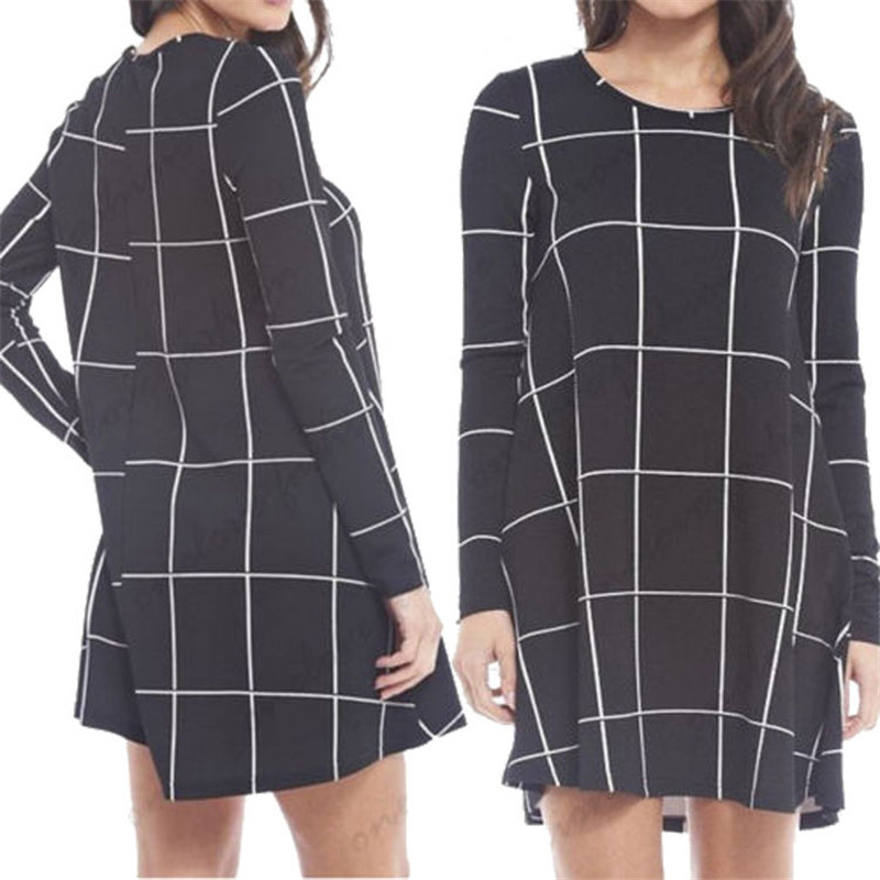 Black White font b Tartan b font Check Print Women Short Dress Ladies Casual Long Sleeve