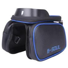 B-SOUL сумка для велосипеда на передней раме, сумка-труба, двуспальная кровать, сумка для мобильного телефона 5,5-6,2 дюймов, Аксессуары для велос...(China)