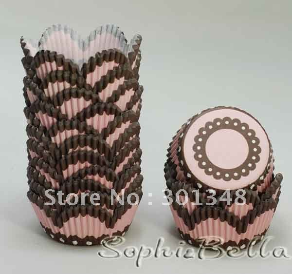 100 pcs pink petal paper cupcake liners baking cups muffin cases