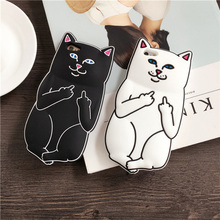 Soft Silicon Rubber Case 3D Cat Cartoon Animals Middle Finger Capa Back Cover iphone 4 4s 5 5s se 6 6s Plus H21 - LYLY Fashion Store store