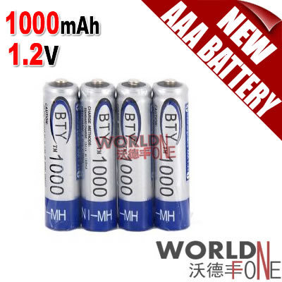 BTY AAA Battery 1000mAh Ni-MH 1.2V Rechargeable Battery 500pcs/Lot(China (Mainland))