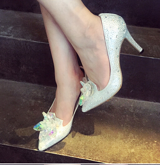 cinderella wedding shoes high heel silver prom