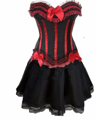 gothic burlesque corset  skirt fancy dress hen party