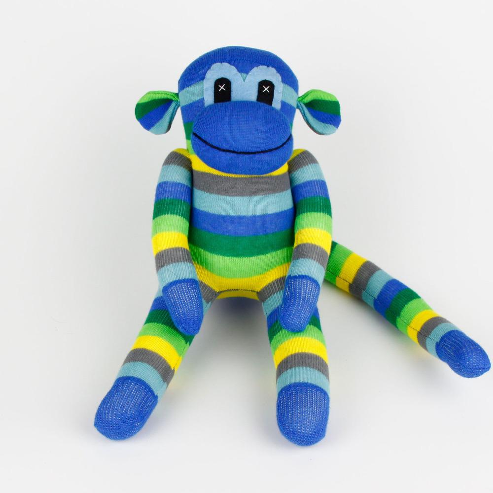 Kids Birthday gift 100% handmade DIY stuffed sock animals doll baby toys sock monkey Christmas New Year Gifts MK005(China (Mainland))
