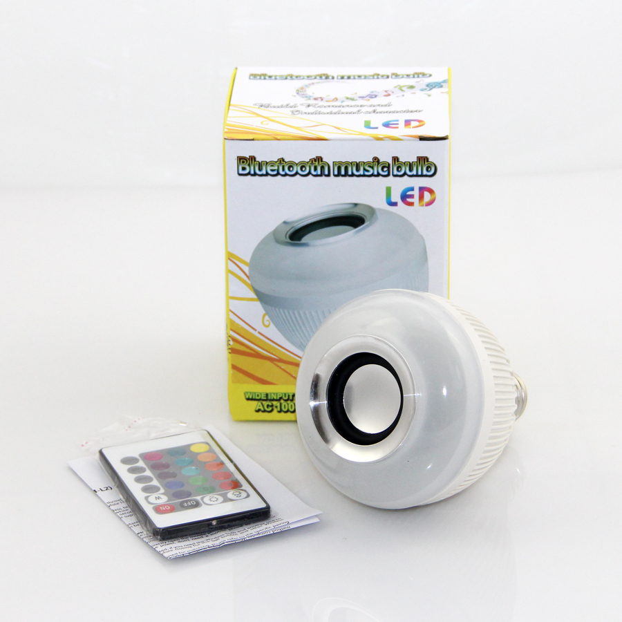 Wireless bluetooth 12W LED speaker bulb Audio Speaker E27 Colorful music playing & Lighting With 24 Keys IR remote Control(China (Mainland))