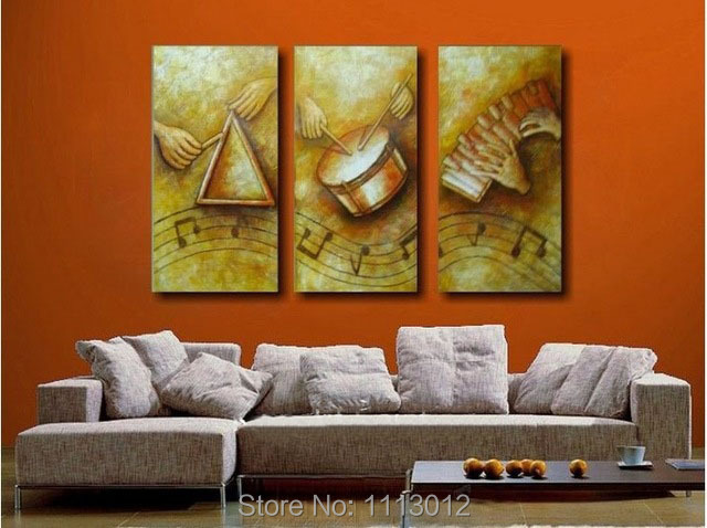 New Hand Painted Yellow Modern Abstract Oil Painting Canvas Art Large 3 Panel Home Decoration Music Wall Picture For Living Room
