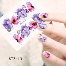 1sheets Manicure Tips Beauty Purples Oil Printing 3d DIY Designs Nail Art Water Transfer Stickers Decals Full Cover STZ131(China (Mainland))