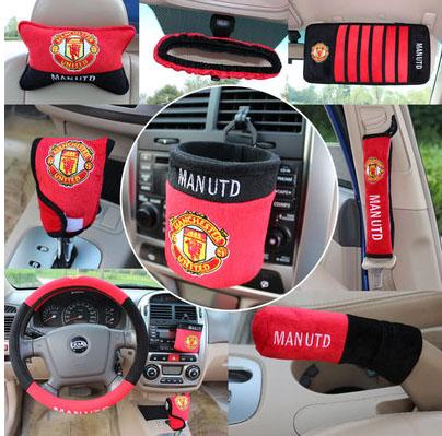 10 pcs /set Automotive supplies Football team pattern automotive interior decoration team set the gear set(China (Mainland))