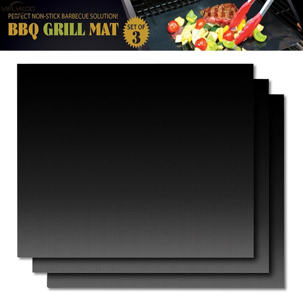2+1pcs Barbecue Grill Mat Non-stick BBQ Grill Mats Baking Liner0.2mm Thick Ptfe Cooking Microwave Oven Pad Reusable Teflon Sheet(China (Mainland))