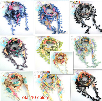 Women spring and autumn Triangle floral printing cotton Scarf with tassel Fringe for women scarves NL-1518