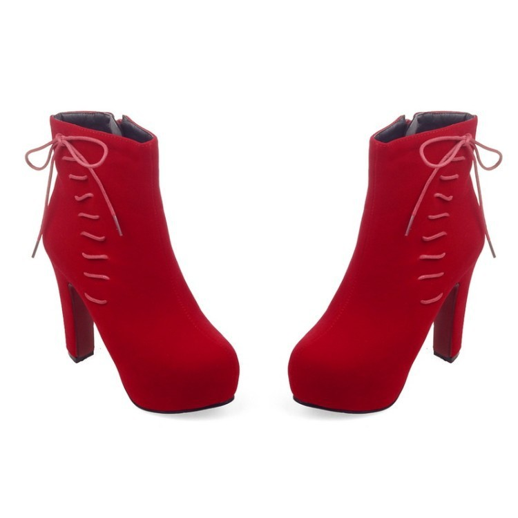 2016 New Black Knee High Chunky Heeled Boots Platform Ladies Fashion Lace Up Shoes Womens Red Ankle Booties Size 9