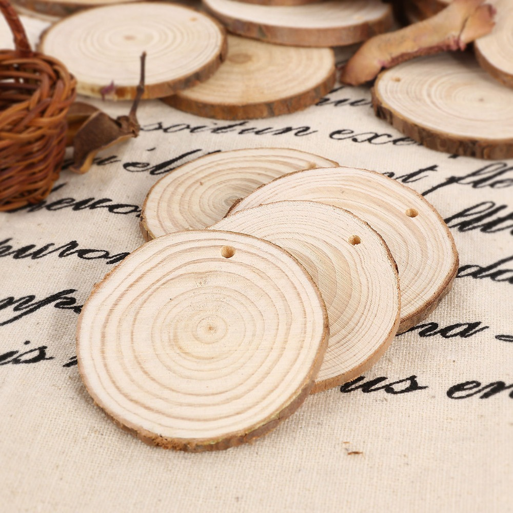 20x round shaped natural wood slices discs craft hobbies for Wood circles for crafts