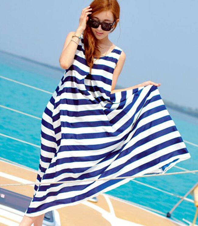 New Arrive 2015 Summer Long Maxi Dress Bohemia Chiffon Women Dress Female Fashion Striped Beach Dresses BK058(China (Mainland))