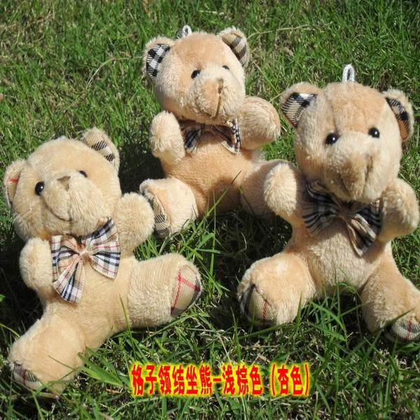 Wholesale H 9cm Brown Plaid bow teddy Bear,plush toy for cartoon bouquet doll,Promotion Gifts wedding bouquets bears 20 pcs/lot(China (Mainland))