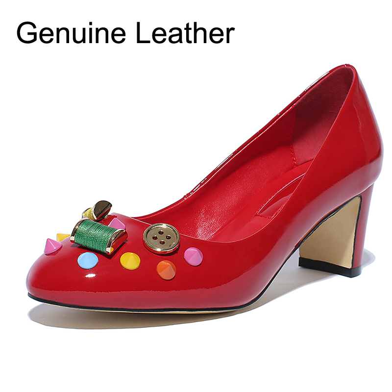2016 Genuine Leather Round Toe Square heel Buttons high heels women shoes valentine shoes designer brand shoes woman DG(China (Mainland))